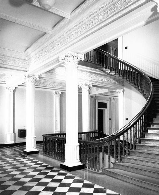 Corner stairs at east end of the north wing. Photograph taken by Richard Cheek, summer 1976, for the Dunlap Society.
