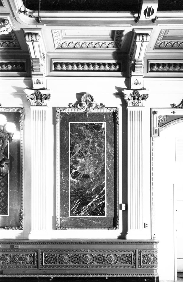 Detail of Wall treatment in the former library of the Navy Department, east wing. Photograph taken by Richard Cheek, summer 1976, for the Dunlap Society.