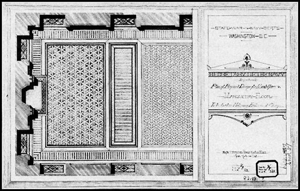 Figure 34: Secretary of the Navy Department. Plan of Proposed Design for Mantelpiece and Marquetry Floor. To be Laid in Mahogany, Hickory, and Cherry. A large portion of this complex wooden floor, designed by W. J. McPherson of Boston, survives in the office of the Vice President.