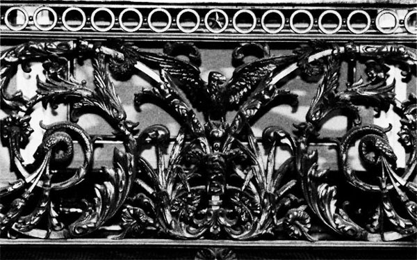 Figure 36: Detail of Balcony Railing, Indian Treaty Room. Surrounding the perimeter of the room, this railing contains allegorical symbols of the Navy and sea, including sea serpents, dolphins, scallop shells, and pairs of sea horses that flank medallions of Mexican onyx.