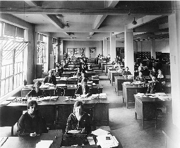 Scene in an office in the Main Navy or Munitions Buildings, 1919.