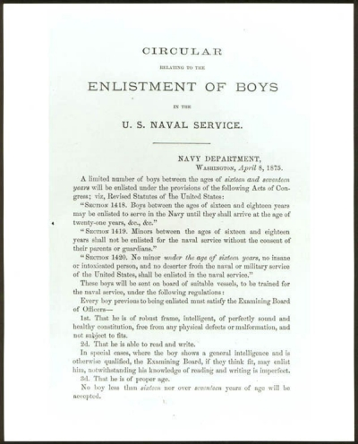 Navy Department circular relating to enlistment of boys.