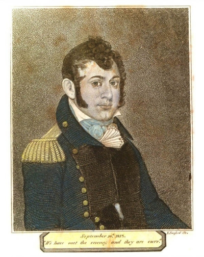 Stipple engraved portrait of Oliver Hazard Perry