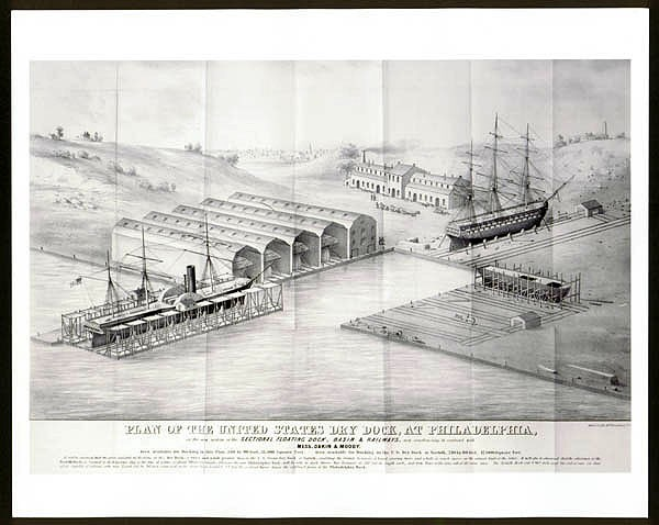 Plan of the U.S. drydock at Philadelphia, lithograph.