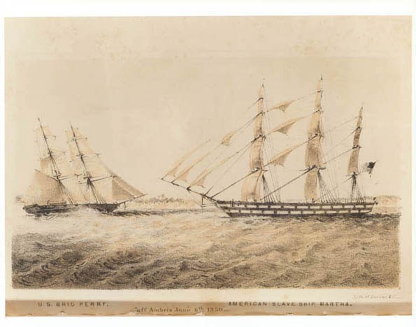 "U.S. brig Perry [confronting] American slave ship Martha ""off Ambriz June 6, 1850."" lithograph."
