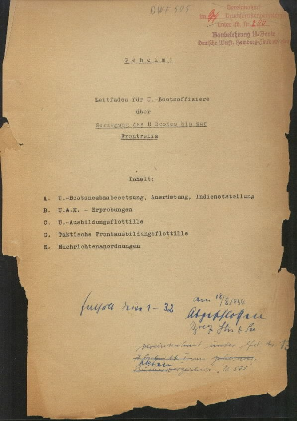 Guide for U-Boat Officers Concerning New U-Boat Orders for the Frontline - title page