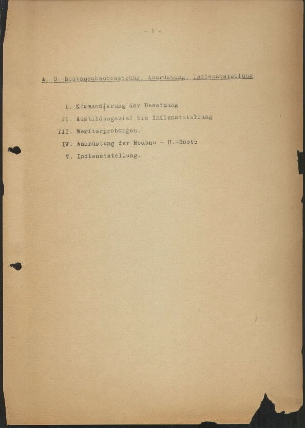 Guide for U-Boat Officers Concerning New U-Boat Orders for the Frontline - page 1
