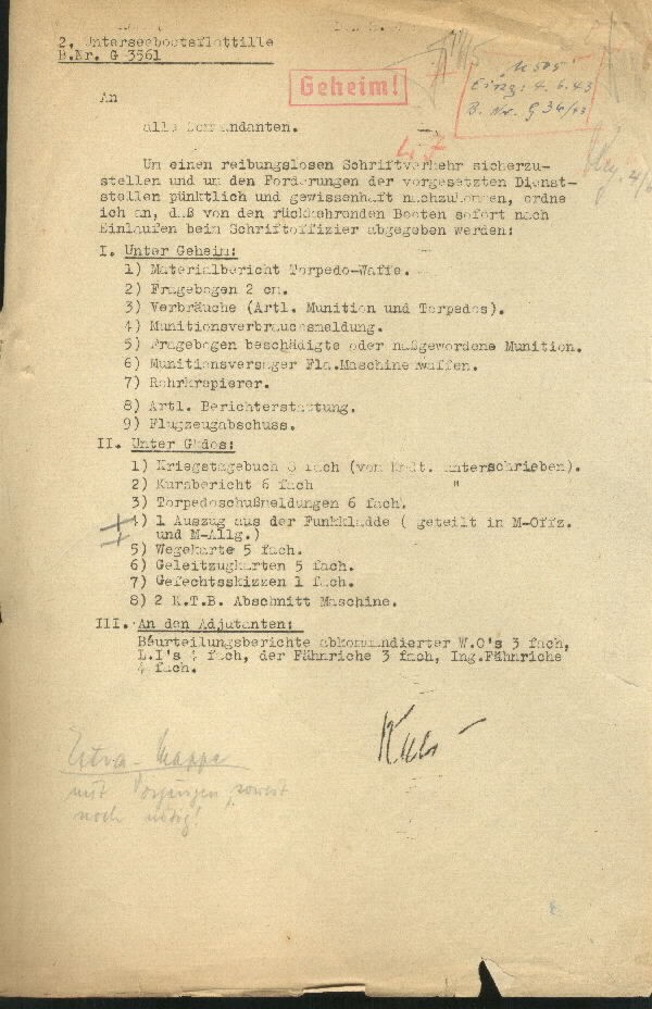 This is a secret order on how submarine commandants had to file their reports upon returning to port