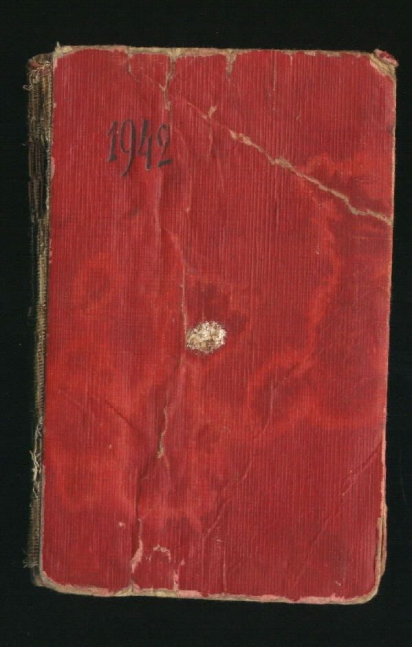 Cover of a U-505 Red Notebook, measuring 7.5 cm in width and 11.1 cm in height. It has 48 remaining pages excluding a few that obviously have been torn out. Many of the pages have not been used. The numbering of pages lacks a coherent fashion.