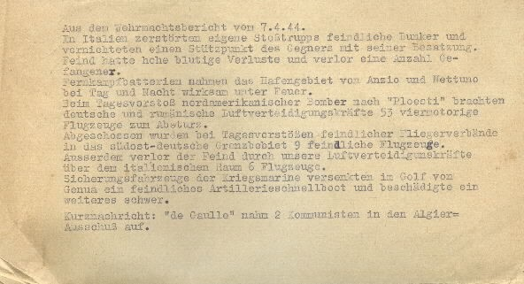 Image of excerpt from the Wehrmacht [German Armed Forces] report on 7 April 1944.