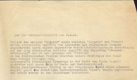 Image of excerpt from the Wehrmacht [German Armed Forces] report on 8 April 1944