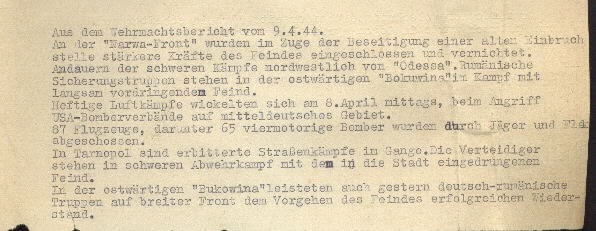 Image of excerpt from the Wehrmacht [German Armed Forces] report on 9 April 1944.