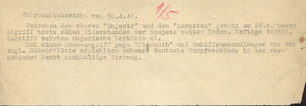 Image of Wehrmacht [German Armed Forces] report on 30 April 1944.