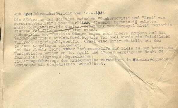Image of excerpt from the Wehrmacht [German Armed Forces] report on 10 April 1944.