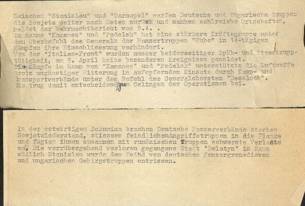 Image of Wehrmacht reports, undated.
