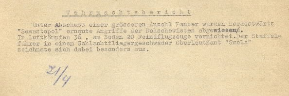 Image of excerpt from the Wehrmacht [German Armed Forces] report on 21 April 1944.