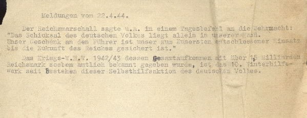 Image of excerpt from the Wehrmacht [German Army] report on 22 April 1944.