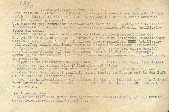Image of Wehrmacht [German Armed Forces] report from 24 April 1944.
