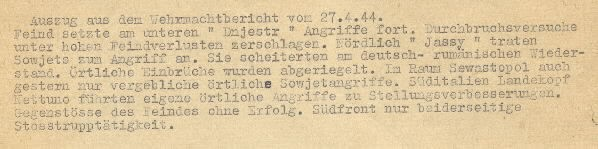 Image of excerpt from the Wehrmacht [German Armed Forces] report on 27 April 1944.