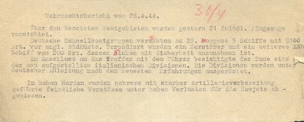 Image of Wehrmacht [German Armed Forces] report on 28 April 1944.