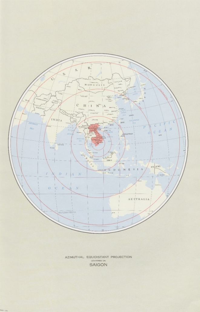 Azimuthal Equidistant Projection Centered on Saigon - Map