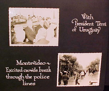 (Left) With President Terra of Uruguay (Right) Montevideo ~ Excited crowds break through the police lines