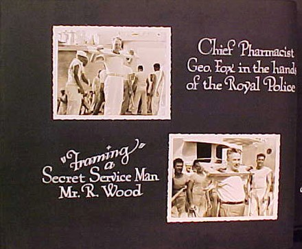 "(Left) Chief Pharmacist Geo. Fox in the hands of the Royal Police, (Right) ""Framing"" Secreet Service Man Mr. R. Wood"