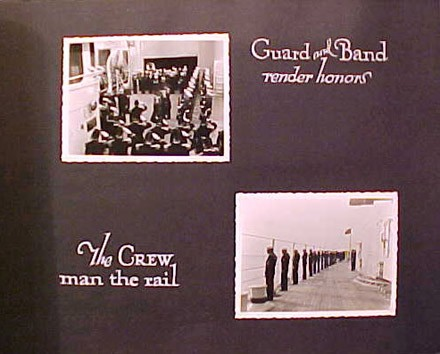 (Left) Guard and Band render honors, (Right) The Crew man the rail