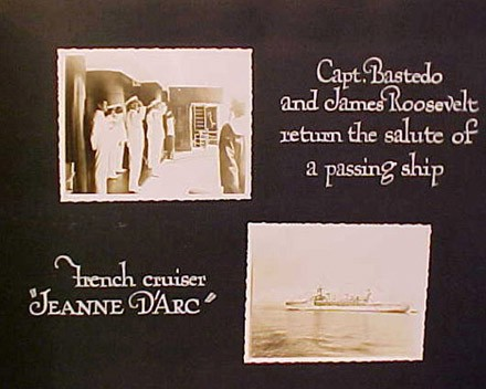 "(Left) Capt. Bastedo and James Roosevelt return the salute of a passing ship (Right) French cruiser ""Jeanne D'Arc"""