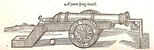Image at bottom of page 2 of the Firft Booke of Colloquies, caption: A peece lying leuell.