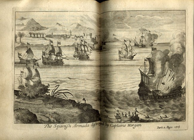 Image on pages 136 and 137 of Spanish Armada destroyed by Captain Morgan.