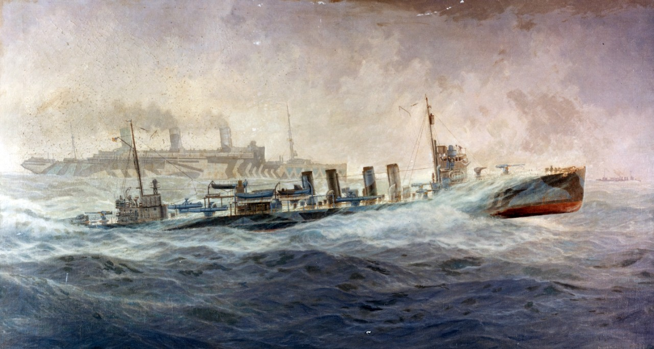 "A Fast Convoy - Oil painting by Burnell Poole, depicting USS Allen (Destroyer # 66) escorting USS Leviathan (ID # 1326) in the War Zone, 1918. The original painting measures 60"" x 33""."