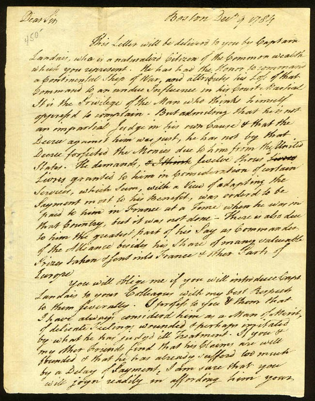 Page 1 - ALS dated 9 December 1784
