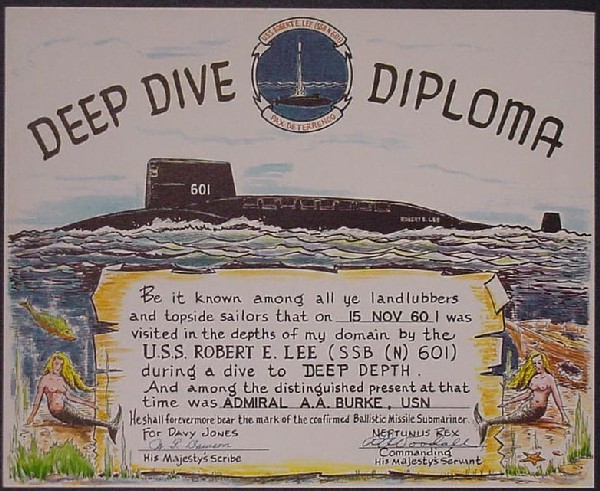 Image of Deep Dive Diploma awarded to Admiral Burke.
