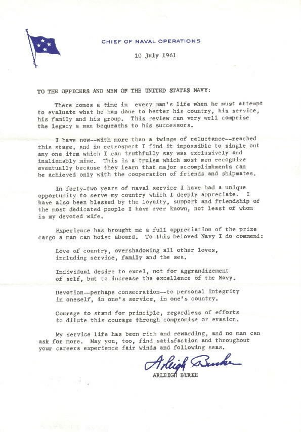Image of Admrial Burke's farewell letter to the US Navy.