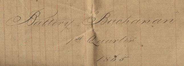 "Portion of document showing: ""Battery Buchanan, 1st Quarter, 1865."""
