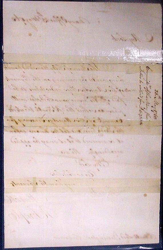 Image of back of letter dated 25 May 1763, from Commissioners of the Navy. To Barrington. Soliciting 50,000 pounds sterling to pay off ships. Signed by C. Mason and R. Temple. (Temple was Commissioner of Revenue at New York in 1764.)