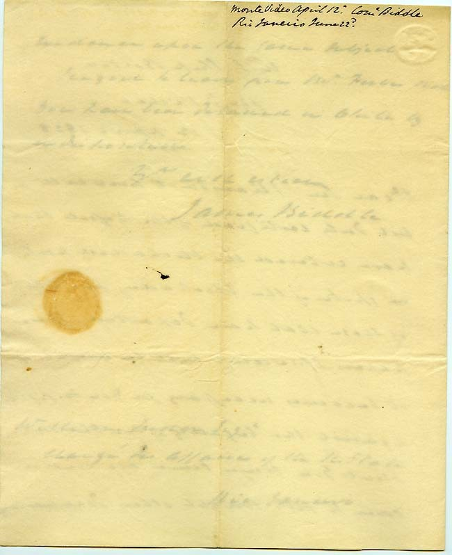 Large image of LS dated 12 April 1828 - Captain James Biddle - page 3.