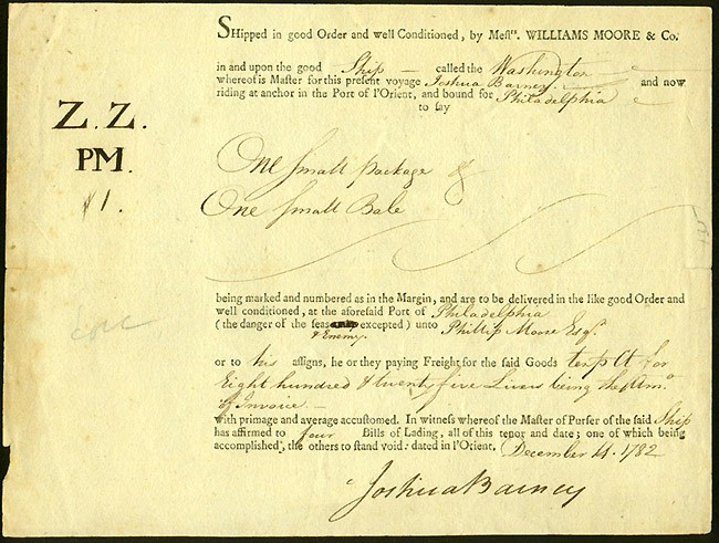 Large image of DS dated 14 December 1782. Shipping document signed by Barney as Master of the ship General Washington.