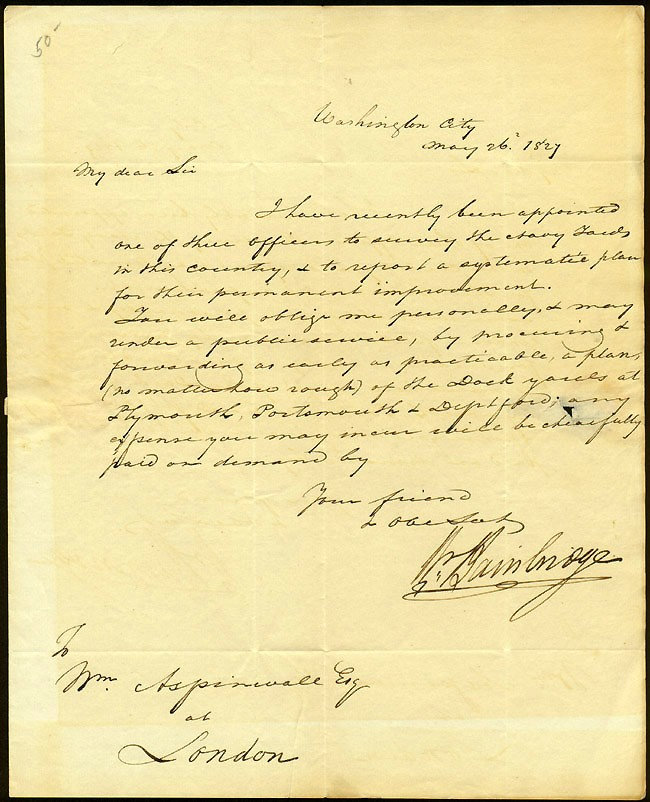 Image of LS dated 26 May 1827, Washington City, page 1.