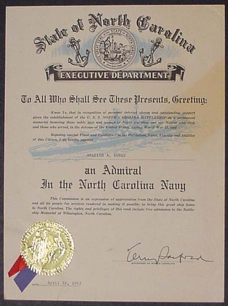 Image of certificate Appointing Arleigh Burke an Admiral in the North Carolina Navy.