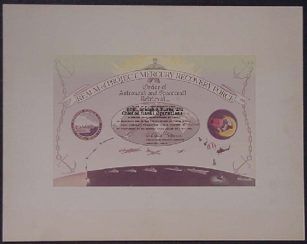 Image of certificate designating Admiral Burke a member of the Realm of Project Mercury Recovery Force.