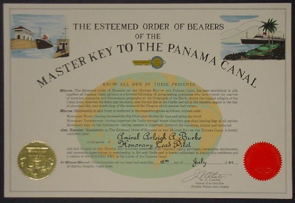 Image of certificate from the Esteemed Order of Bearers of the Master Key to the Panama Canal Making Admiral Arleigh Burke an Honorary Lead Pilot.