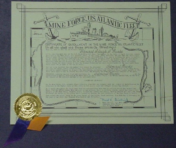 Image of Certificate of Enrollment in the Mine Force, U.S. Atlantic Fleet to Admiral Arleigh Burke.