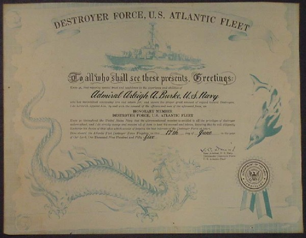 Image of Certificate of Honorary Membership in Destroyer Force, US Atlantic Fleet to Admiral Arleigh Burke.