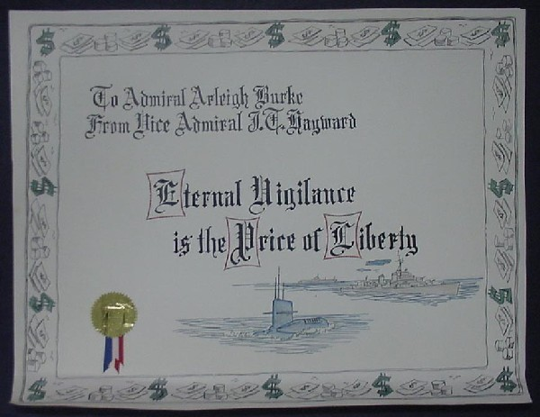 Image of document to Admiral Arleigh Burke from Vice Admiral Hayward.