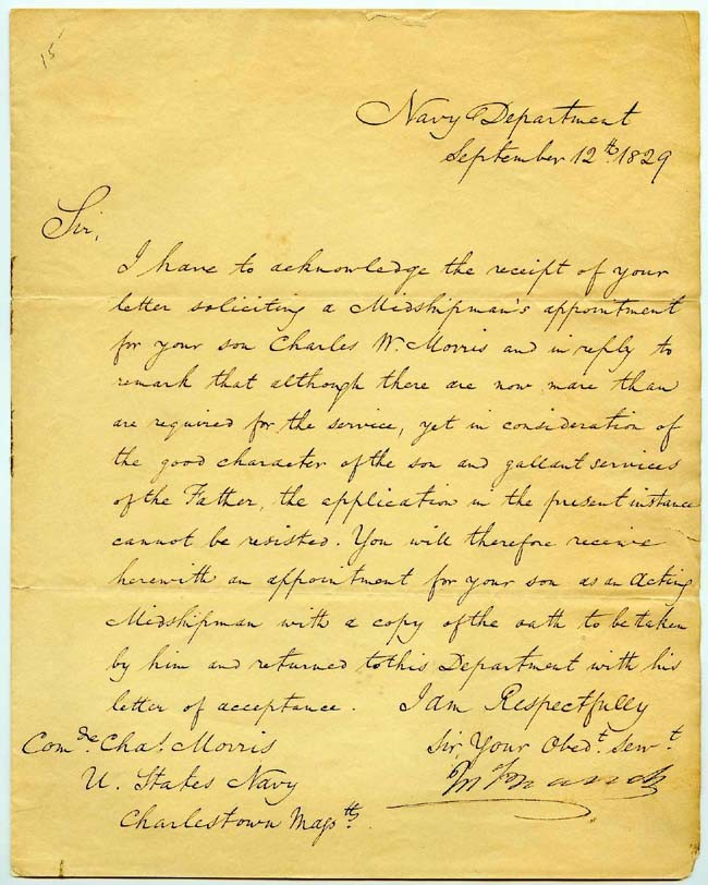 LS dated 12 September 1829, Navy Department. To Commodore Charles Morris. Page 1.