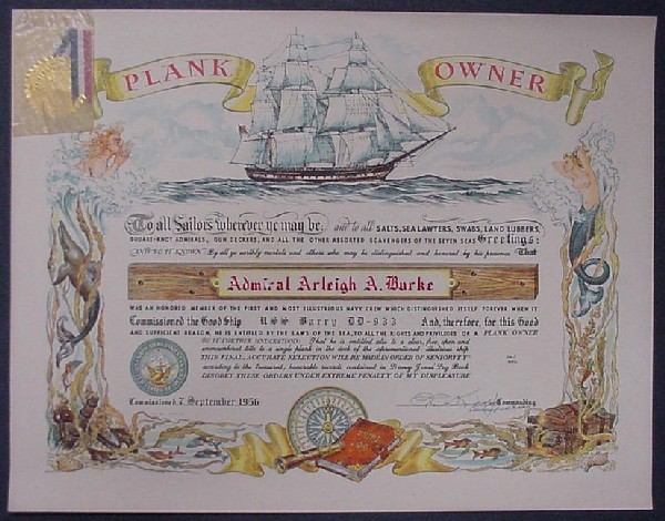Image of plank owner certificate to Admiral Arleigh Burke from USS Barry.