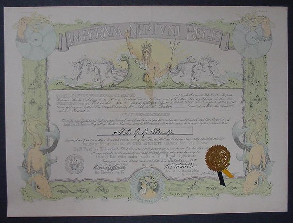Image of shellback certificate for Lieutenant Arleigh Burke.
