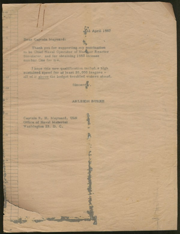 Image of typed letter to Captain R.H. Maynard, dated 22 April 1957.
